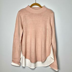 New York and Company Pink Sweater w/ Sheer Back